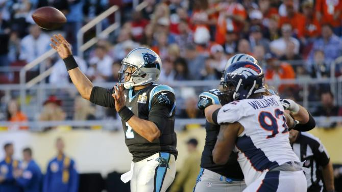 Carolina Panthers' quarterback Cam Newton throws a pass during the second quarter of the NFL's Super Bowl 50 football game against the Denver Broncos in Santa Clara