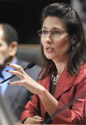 National Transportation Safety Board (NTSB) Chairman Deborah Hersman questions witnesses during a hearing in Washington, Wednesday, March 2, 2011, to gather additional factual information for the ongoing investigation into the natural gas pipeline rupture and explosion that occurred on Sept. 9, 2010, in San Bruno, California. (AP Photo/Cliff Owen)