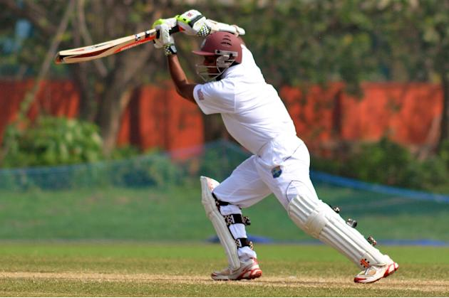 West Indies player S Chanderpaul in action during Day 2 of practice match between West Indies and Uttar Pradesh Cricket Association XI at the Jadavpur University Ground in Kolkata on Nov.1 2013. (Phot