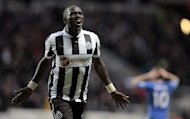 Newcastle United's French midfielder Moussa Sissoko celebrates scoring their third goal against Chelsea on February 2, 2013. Newcastle go into their clash with Ukrainian side Metalist Kharkiv at St. James' Park -- where they are unbeaten in 11 European home games -- in confident mood