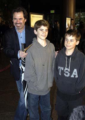 Dennis Miller and sons Morton and Holden at the Hollywood premiere of Warner Bros. A Mighty Wind