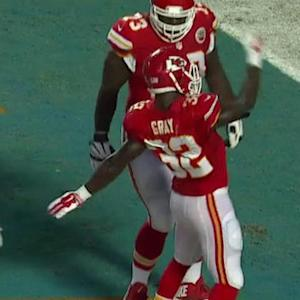 Kansas City Chiefs running back Cyrus Gray runs right for the 6-yard touchdown