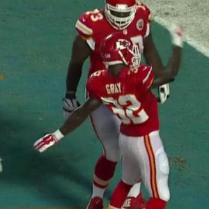 Kansas City Chiefs running back Cyrus Gray runs right for the 6-yard touchdown