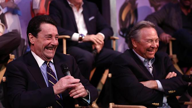 """IMAGE DISTRIBUTED FOR THE HUB - Peter Cullen, actor and the voice of Optimus Prime, left, and Frank Welker, actor and the voice of Megatron, speak at The Hub's """"Transformers Prime Beast Hunters"""" World Premiere Screening Event on Thursday, March 14, 2013 in Universal City, Calf. (Photo by Matt Sayles/Invision for The Hub/AP Images)"""