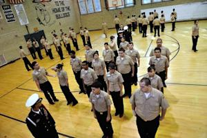 Cadets practice their formation on October 22, 2013 …