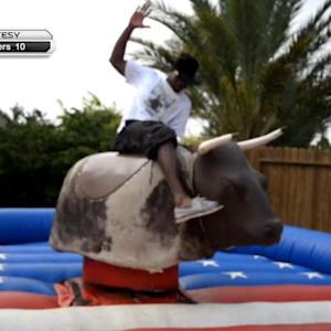 Denver Broncos wide receiver Emmanuel Sanders tames the bull