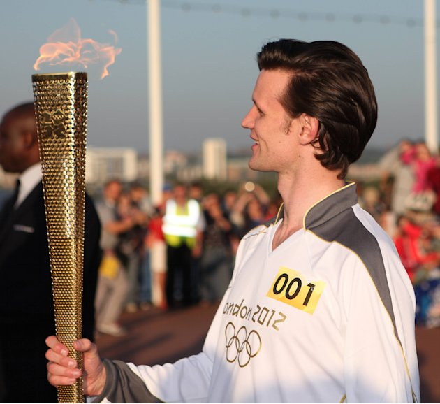 Matt Smith starts the second day of the Olympic torch relay tour of Wales Cardiff, Wales - 26.05.12 Mandatory Credit: Doug Williams/WENN.com
