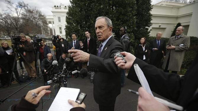 New York City Mayor Michael Bloomberg answers questions from members of the media outside the West Wing of the White House in Washington, Wednesday, Feb. 27, 2013, following his meeting with Vice President Joe Biden. (AP Photo/Pablo Martinez Monsivais)