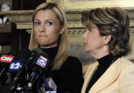 Former porn actress Ginger Lee, left, and her attorney Gloria Allred address a news conference at the Friars Club, in New York, Wednesday, June 15, 2011. Lee, who said she exchanged emails and messages over Twitter with New York Rep. Anthony Weiner, said Wednesday that he asked her to lie about their online communications. (AP Photo/Richard Drew)