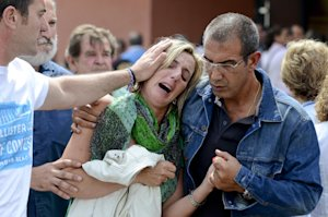 Relatives of victims involved in a train accident react …