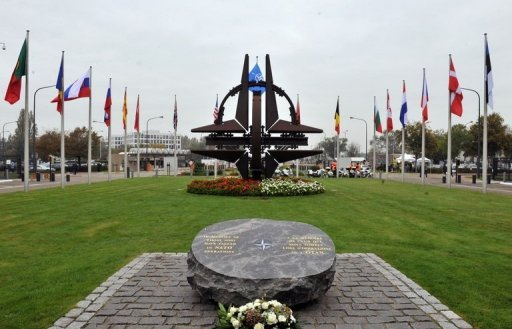 View of the main entrance to the NATO headquarters in Brussels. NATO will hold an emergency meeting on June 26 to discuss the downing of a Turkish jet by Syrian forces, according to a spokeswoman for the Atlantic Alliance