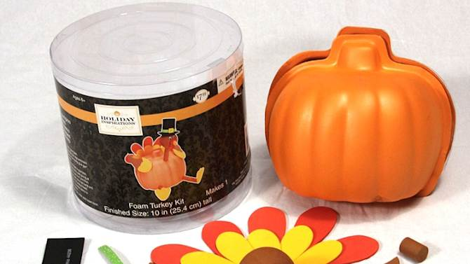 This image provided by the U.S. Consumer Product Safety Commission shows a Foam Pumpkin Turkey Craft Kit. The line of craft kits that resemble a turkey were recalled Friday, Nov. 23, 2012, because the magnets involved in the assembly pose a serious internal injury risk if they are ingested. Other recalls this week included pajamas that fail to meet flammability standards. (AP Photo/U.S. Consumer Product Safety Commission)