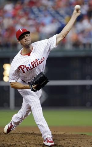Philadelphia Phillies' Cole Hamels pitches in the third inning of a baseball game against the Washington Nationals, Tuesday, July 9, 2013, in Philadelphia. (AP Photo/Matt Slocum)