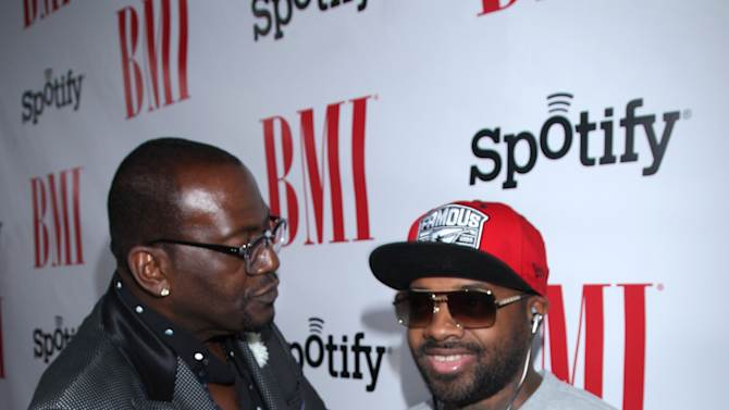 Randy Jackson and Jermaine Dupri arrive at the BMI Urban Awards honoring Mariah Carey held at the Saban theatre on Friday Sept 7, 2012, in Beverly Hills, Calif. (Photo by Arnold Turner/Invision for BMI/AP Images)
