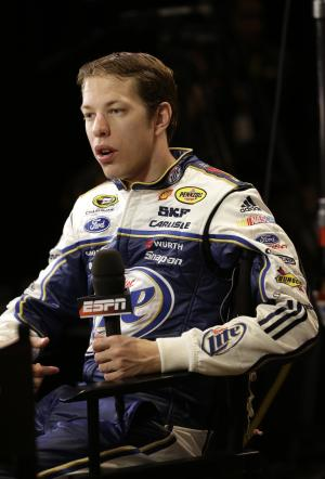 Auto racing driver Brad Keselowski answers questions during an interview at NASCAR media day at Daytona International Speedway, Thursday, Feb. 14, 2013, in Daytona Beach, Fla. (AP Photo/John Raoux)