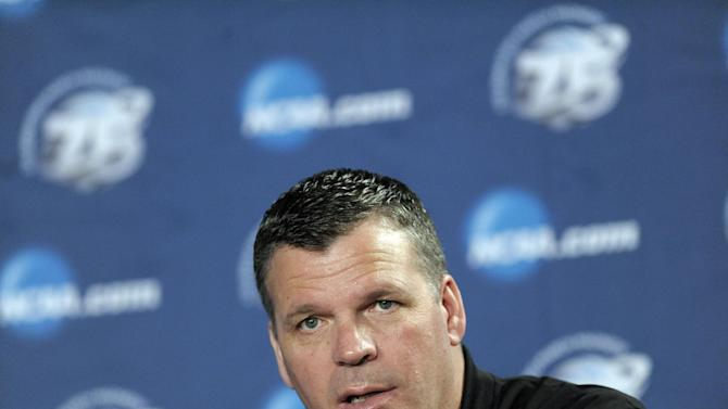Creighton head coach Greg McDermott speaks during a news conference for a third-round game of the NCAA college basketball tournament, Saturday, March 23, 2013, in Philadelphia. Creighton is scheduled to play Duke on Sunday. (AP Photo/Michael Perez)