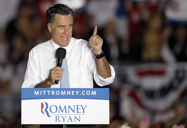Republican presidential candidate and former Massachusetts Gov. Mitt Romney gestures during a campaign speech Saturday, Oct. 27, 2012, in Land O&#39; Lakes, Fla. (AP Photo/Chris O&#39;Meara)