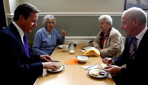 Prime Minister David Cameron, left, visits Botcherby Community Centre in Carlisle