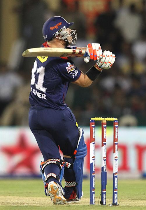 David Warner of Delhi Daredevils hooks a delivery for six during match 44 of the Pepsi Indian Premier League between The Delhi Daredevils and the Kolkata Knight Riders held at the Chhattisgarh Interna