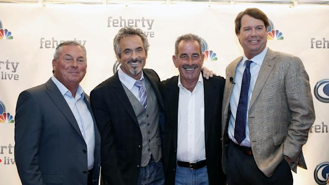 IMAGE DISTRIBUTED FOR GOLF CHANNEL - (l-r) Lanny Wadkins, David Feherty, Sam Torrance, and Paul Azinger  are seen at Golf Channel's 'Feherty Live From the Ryder Cup', on Monday, September 24, 2012 at the Tivoli Theatre in Downers Grove, IL. (Ross Dettman/AP Images for Golf Channel)