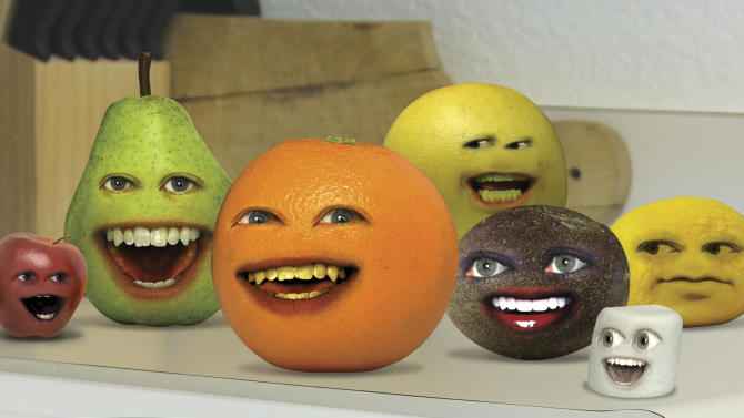 """In this image released by Cartoon Network, a scene is shown from the web series, """"The Annoying Orange.""""  The popular Internet hit is coming to TV as a Cartoon Network series. (AP Photo/Cartoon Network)"""
