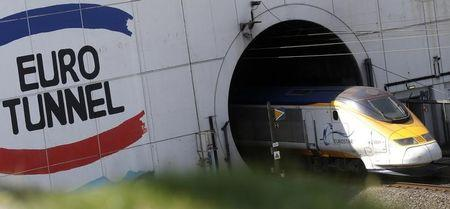 A high-speed Eurostar train enters the Channel tunnel in Coquelles