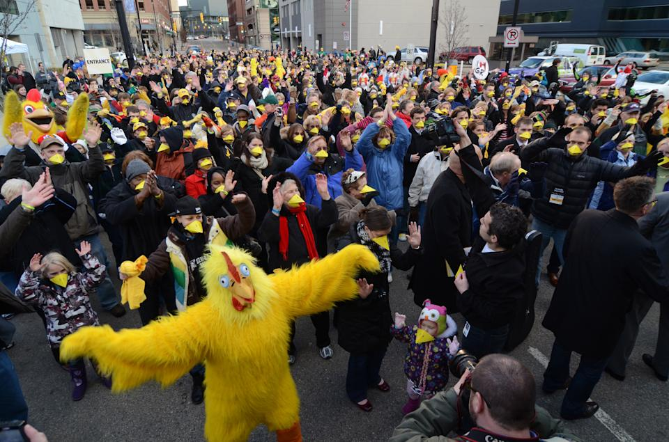 In a photo provided by the Gilda's LaughFest, people gather in downtown Grand Rapids, Mich., to set a new Guinness World Record for the largest gathering of people wearing animal noses, Thursday, March 8, 2012. (AP Photo/Gilda's LaughFest, Jeffrey Huyck)