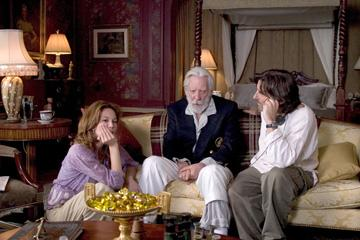 Diane Lane and Donald Sutherland and director Griffin Dunne on the set of Autonomous Films' Fierce People