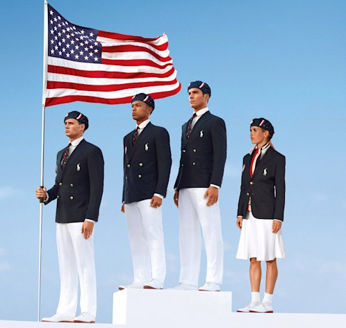 FILE - This product image released by Ralph Lauren shows U.S. Olympic athletes, from left, swimmer Ryan Lochte, decathlete Bryan Clay, rower Giuseppe Lanzone and soccer player Heather Mitts modeling the the official Team USA Opening Ceremony Parade Uniform. Republicans and Democrats railed Thursday, July 12, 2012 about the U.S. Olympic Committee's decision to dress the U.S. team in Chinese manufactured berets, blazers and pants while the American textile industry struggles economically with many U.S. workers desperate for jobs. (AP Photo/Ralph Lauren, File)