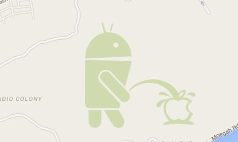 Android logo caught urinating over Apple logo on Google Maps