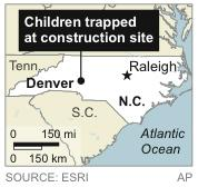 Map locates Denver, N.C., where two children were trapped at a home construction site