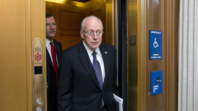 FILE- In this July 17, 2012, file photo, former Vice President Dick Cheney returns to the Capitol to meet with Senate Republican leaders at a political strategy luncheon, in Washington. Cheney says President Barack Obama is jeopardizing U.S. national security by nominating substandard candidates for key cabinet posts and degrading the U.S. military. Cheney, a Wyoming native, made his comments Saturday, Feb, 9, 2013, to about 300 members of the state's Republican Party in Cheyenne.  (AP Photo/J. Scott Applewhite, File)