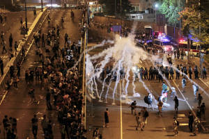 Hong Kong police use tear gas to break up protest
