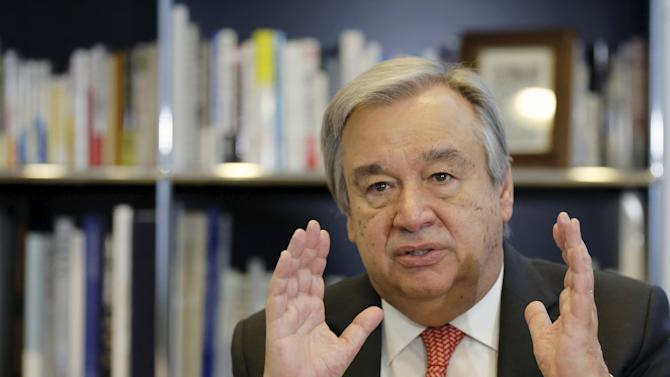 UNHCR Guterres speaks during an interview with Reuters, in Tokyo