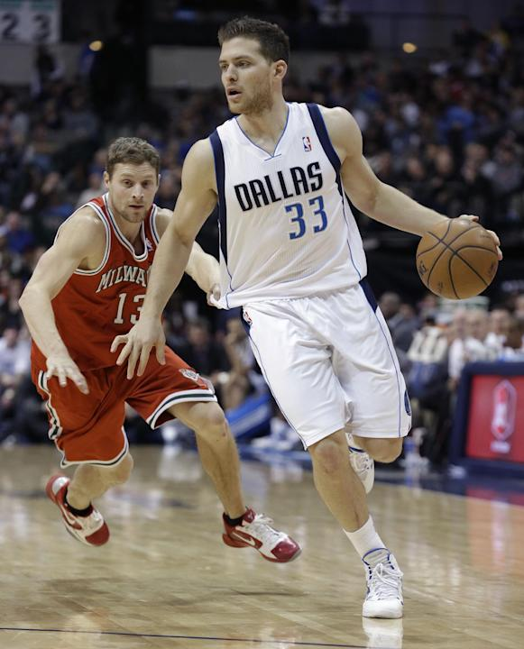 Dallas Mavericks point guard Gal Mekel (33), of Israel, is grabbed by Milwaukee Bucks point guard Luke Ridnour (13) during the second half of an NBA basketball game Saturday, Dec. 14, 2013, in Dallas.