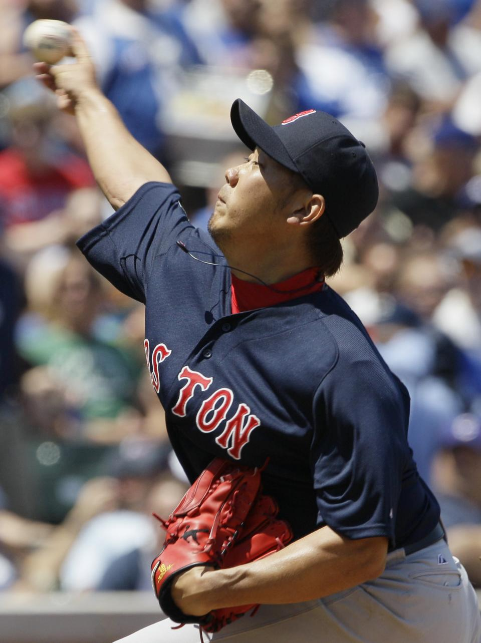 Boston Red Sox starter Daisuke Matsuzaka, of Japan, throws against the Chicago Cubs during the first inning of an interleague baseball game in Chicago, Friday, June 15, 2012.  (AP Photo/Nam Y. Huh)
