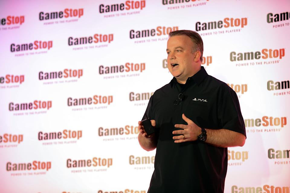 Sony's Sean Coleman speaks at the GameStop Expo in Las Vegas on Wednesday, Aug. 28, 2013. (Photo by Al Powers/Invision/AP)