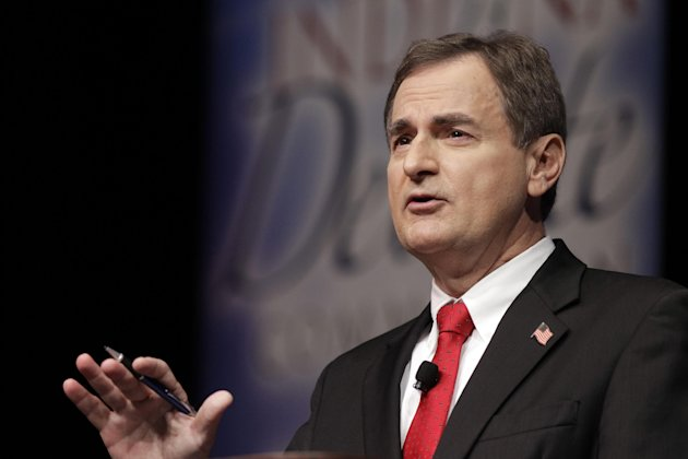 Republican Richard Mourdock, candidate for Indiana&#39;s U.S. Senate seat, participates in a debate with Democrat Joe Donnelly and Libertarian Andrew Horning in a debate in New Albany, Ind., Tuesday, Oct. 23, 2012. Mourdock said Tuesday when a woman is impregnated during a rape, &quot;it&#39;s something God intended.&quot; He was asked during the final minutes of the debate whether abortion should be allowed in cases of rape or incest. (AP Photo/Michael Conroy)