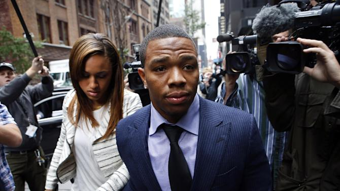 "In this Nov. 5, 2014, file photo, Ray Rice arrives with his wife Janay Palmer for an appeal hearing of his indefinite suspension from the NFL in New York.   Rice has won the appeal of his indefinite suspension by the NFL, which has been ""vacated immediately,"" the NFL football players' union said Friday, Nov. 28, 2014"