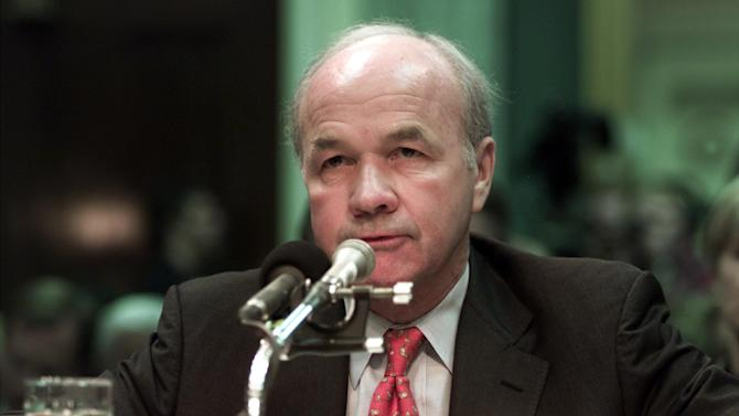 FILE - In this Feb. 12, 2002 file photo, former Enron CEO Kenneth Lay gives brief remarks before he exercised his constitutional rights and refused to testify before the Senate Commerce Committee hearing, on Capitol Hill in Washington. Lois Lerner of the IRS joins a diverse roll call of people who have invoked their Fifth Amendment right not to answer lawmakers' questions over the years. (AP Photo/Ron Edmonds, File)
