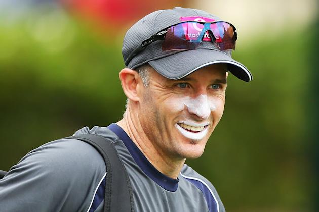 SYDNEY, AUSTRALIA - JANUARY 02:  Michael Hussey of Australia shares a joke with a team mate during an Australian nets session at Sydney Cricket Ground on January 2, 2013 in Sydney, Australia.  (Photo