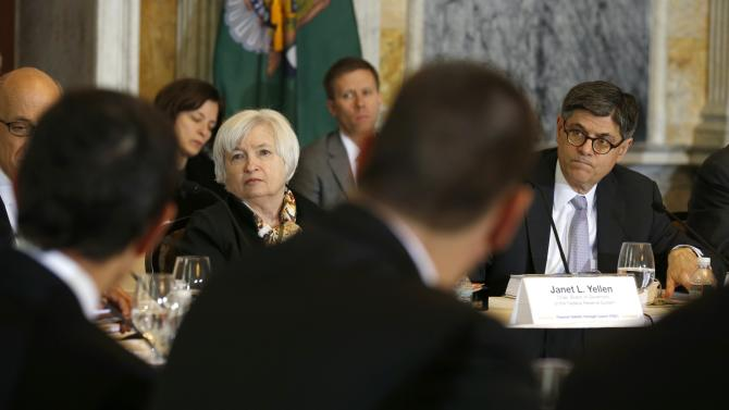 Yellen and Lew at an open session of the Financial Stability Oversight Council in Washington