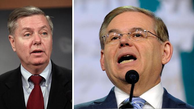 FILE - These file photos shows Sen. Lindsey Graham, R-S.C., left and Sen. Robert Menendez, D-N.J., the Senators warned Sunday June 13, 2013 that Republicans' hopes to reclaim the White House in the 2016 elections hinge on whether they support _ or sabotage _ the immigration overhaul being debated in the Senate. (AP Photo/