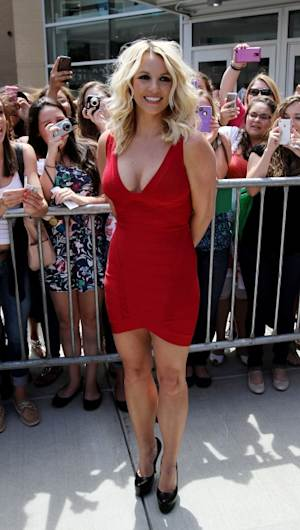 Britney Spears rocks a red mini dress at 'The X Factor' Season 2 auditions at the Dunkin Donuts Center in Providence, Rhode Island on June 27, 2012  -- Getty Premium