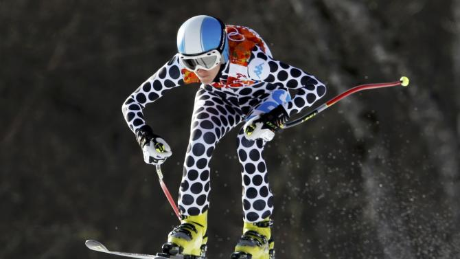 Argentina's Simari Birkner goes airborne during the downhill run of the women's alpine skiing super combined event at the 2014 Sochi Winter Olympics
