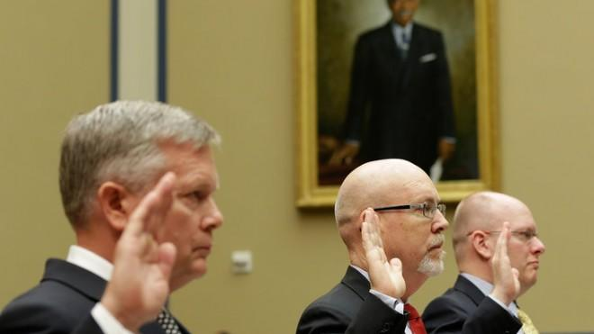Acting Deputy Assistant Secretary of State for Counterterrorism Mark Thompson, former deputy chief of mission in Libya, Gregory Hicks, and former regional security officer in Libya, Eric Nordstrom, are sworn in before the Benghazi hearing on May 8.