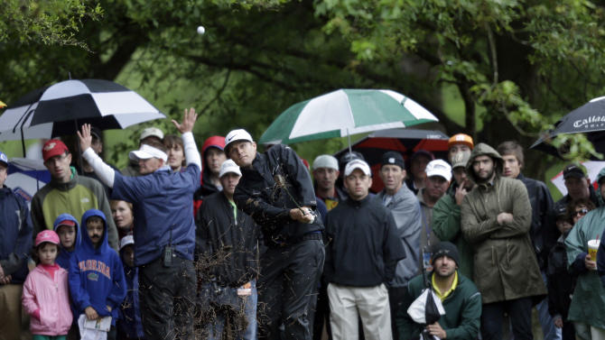 Nick Watney hits from the rough on the fifth hole during the final round of the Wells Fargo Championship golf tournament at Quail Hollow Club in Charlotte, N.C., Sunday, May 5, 2013. (AP Photo/Bob Leverone)