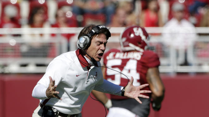 Alabama coach Nick Saban reacts during the first half of an NCAA college football game against Western Carolina at Bryant-Denny Stadium in Tuscaloosa, Ala., Saturday, Nov. 17, 2012. Saban was angered when one of his players committed a personal foul against Western Carolina's punter. (AP Photo/Dave Martin)