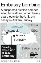 Map locates Ankara, Turkey site of a U.S. embassy explosion