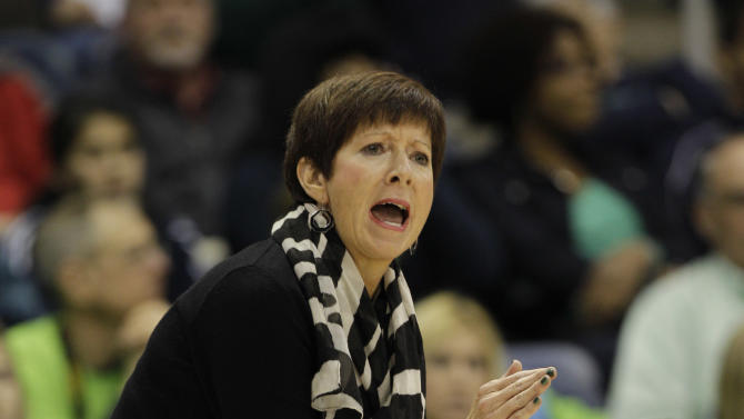 Notre Dame head coach Muffet McGraw reacts during the first half of a regional semi-final of the NCAA college basketball tournament Sunday  March 31, 2013, in Norfolk, Va.  (AP Photo/Steve Helber)